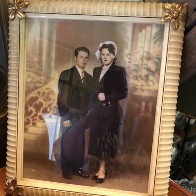 Cadre Bakelite d'un couple de mariés