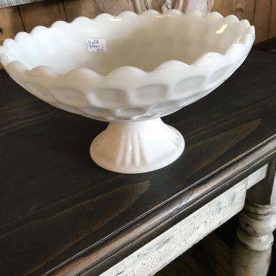 Plat en verre Milk Glass blanc